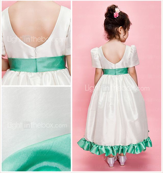 A-line/Ball Gown Jewel Ankle-length Taffeta Flower Girl Dress With Ribbon And Bow