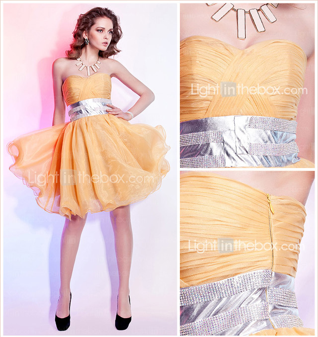 A-line Sweetheart Knee-length Organza Cocktail Dresses