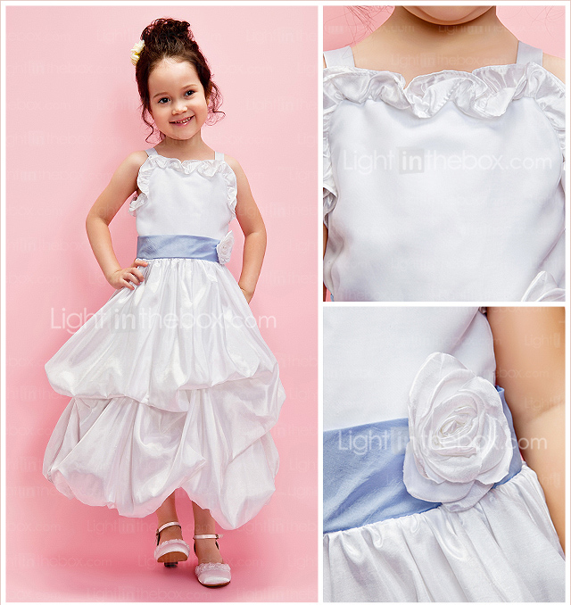A-line Square Ankle-length Taffeta Flower Girl Dress