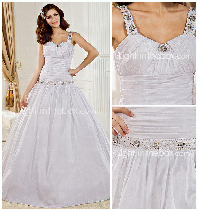 Ball Gown V-neck Court Train Taffeta  Wedding Dress