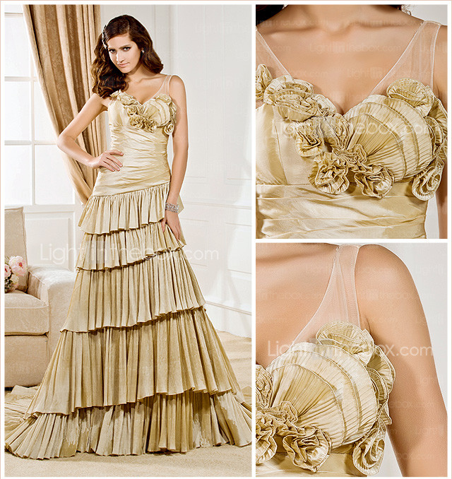 Sheath/Column V-neck Court Train Taffeta  Wedding Dress