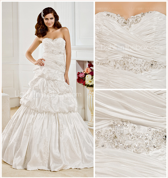 Ball Gown Sweetheart Floor-length Taffeta  Wedding Dress