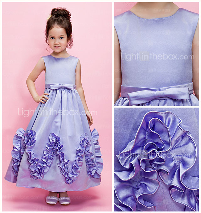 Ball Gown Jewel Ankle-length Satin Flower Girl Dress