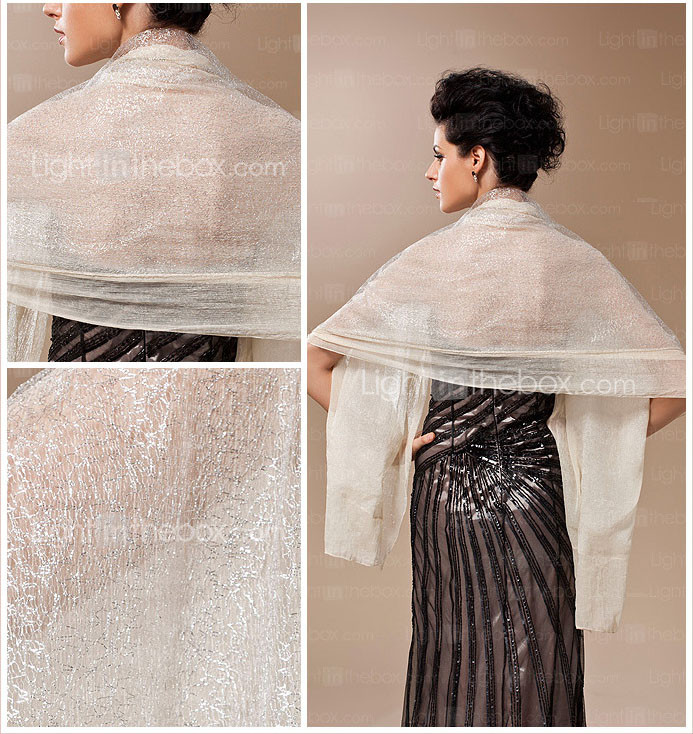 100% Handmade Sheer Silk Evening/Wedding Shawl/Wrap