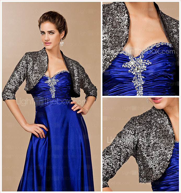 Elegant 3/4-Length Sleeve Sequined Special Occasion Jacket / Wrap