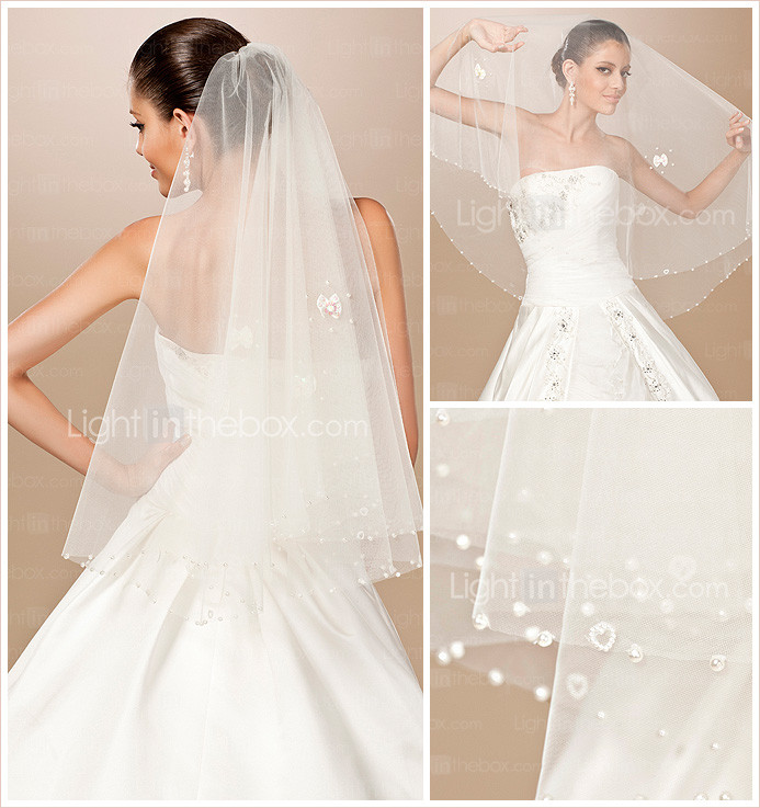 One-tier Tulle Pearl Trim Edge Elbow Wedding Veil With Pearls / Satin Flower (More Colors)