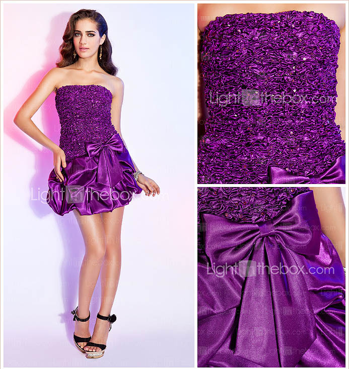 A-line Strapless Short/Mini Satin Cocktail Dress With Pick-up Skirt And Bow