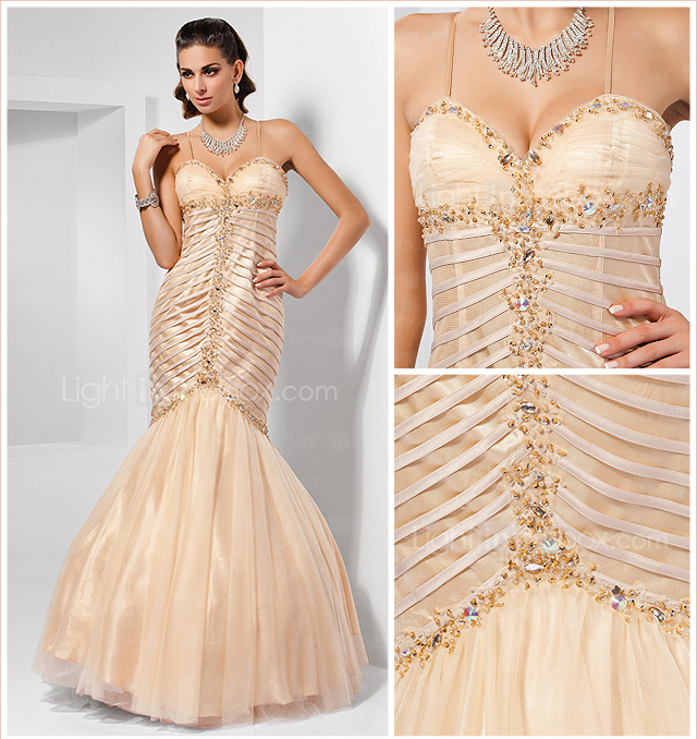 Trumpet/Mermaid Spaghetti Straps Sweetheart Floor-length Tulle Evening Dress