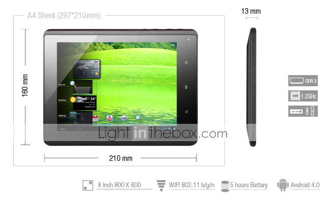 raket fra 2 til 8 tommer capacative android 4,0 tablet (1.2GHz, 512MB RAM, HDMI)