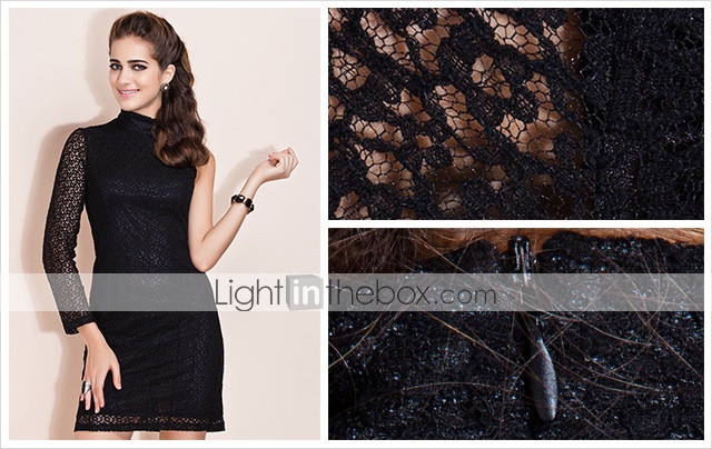 TS Stand Collar One Sleeve Lace Dress