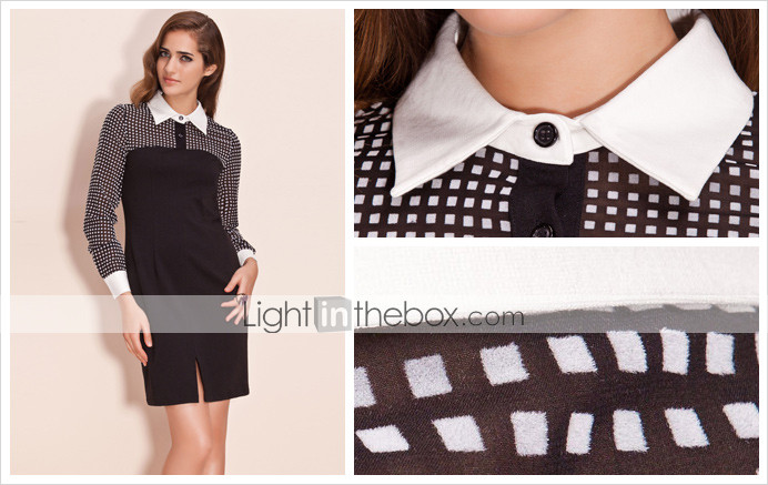 TS Checked Chiffon Long Sleeve Shirt Dress