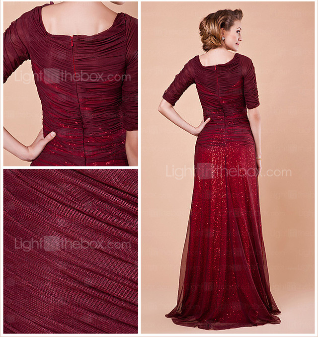 Sheath/Column Scoop Half Sleeve Floor-length Tulle Mother of the Bride Dress