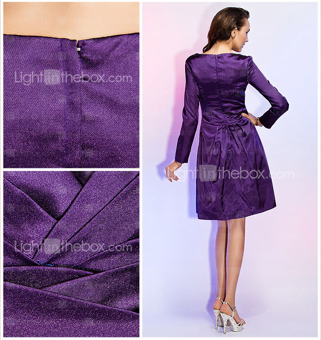 a-line V-Ausschnitt knielangen Stretch-Satin Criss Cross Cocktailkleid