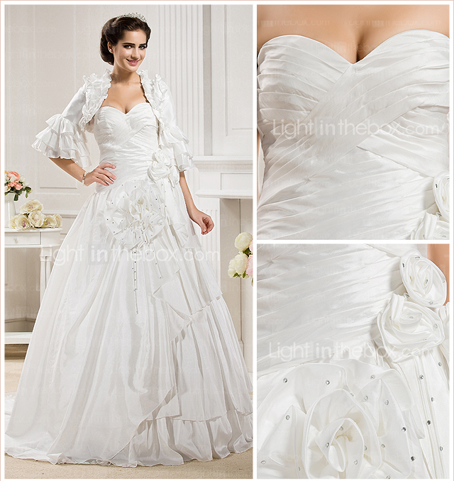 Ball Gown Sweetheart  Chapel Train Taffeta  Wedding Dress With A Wrap