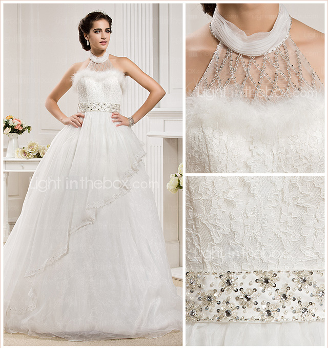 Ball Gown High Neck  Court Train Organza Wedding Dress