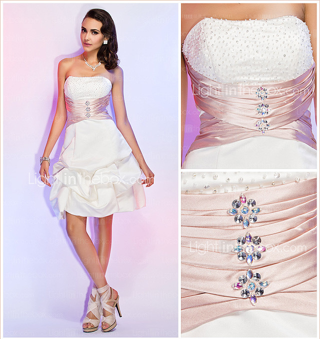 A-line Strapless Knee-length Satin Beading Sash/Ribbon Ruching Pick Up Skirt Cocktail Dress