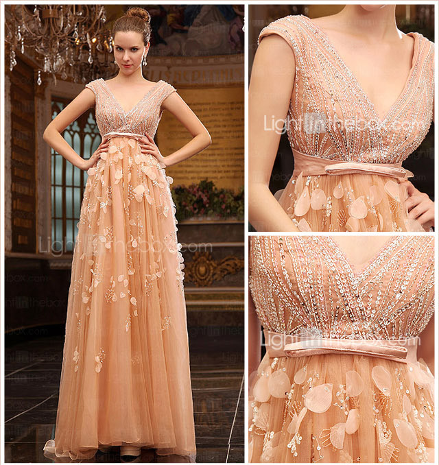 A-line V-neck Sweep Brush Train Tulle Over Chiffon Luxurious Dresses