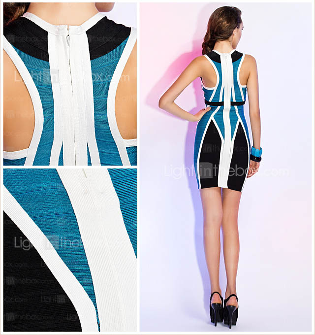 Sheath/Column V-neck Sleeveless Short/Mini Bandage Dress