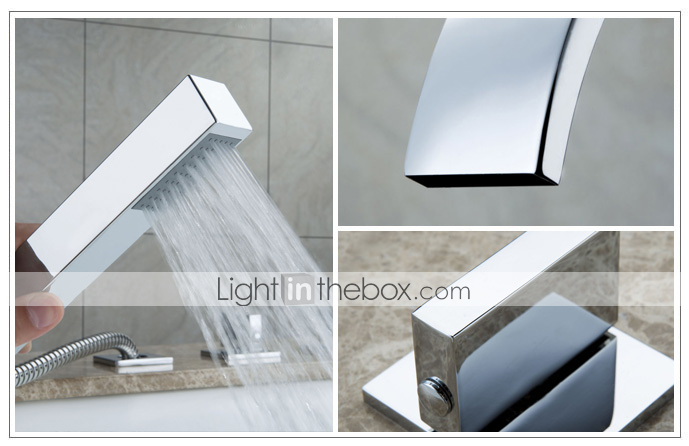 Sprinkle® by Lightinthebox - Contemporary Brass Tub Faucet with Hand Shower - Chrome Finish