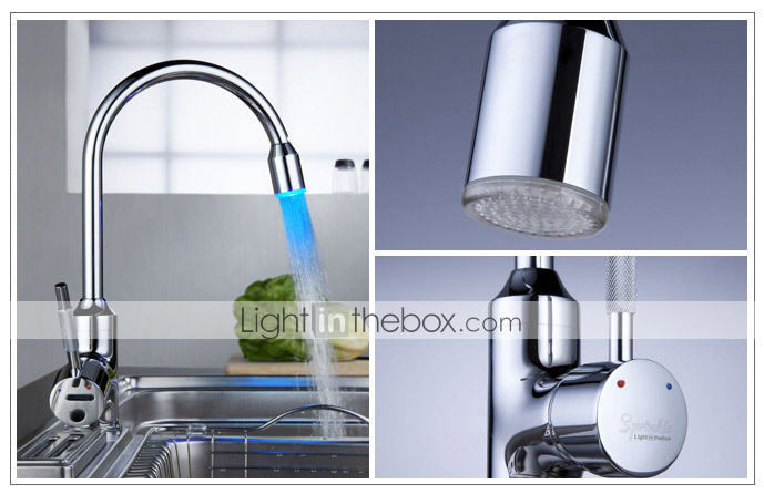 Sprinkle® by Lightinthebox - Contemporary Brass Kitchen Faucet with Color Changing LED Light