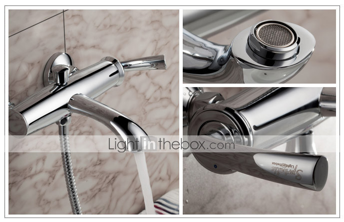 Sprinkle by Lightinthebox - Contemporary Wall Mount Solid Brass Tub Faucet Chrome Finish