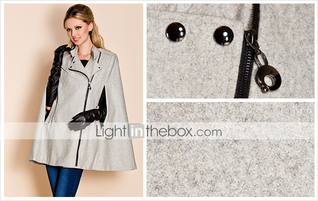 TS Asymmetrical Zipper Tweed Cloak Trench Coat