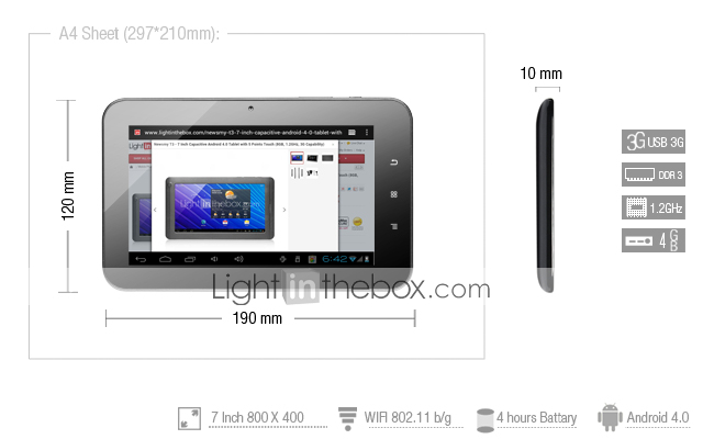 Athens- Android 4.0 Tablet with 7 Inch Capacitive Touchscreen (4GB, 1GHz, HDMI)