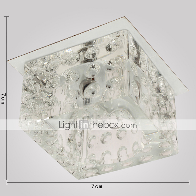 Crystal Semi Flush Mount with 1 Light in Cubic Shape