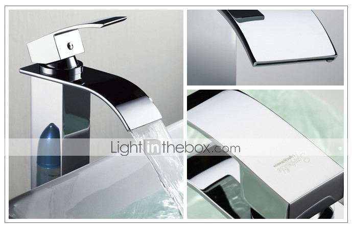 Sprinkle - Contemporary Brass Waterfall Bathroom Sink Faucet (Tall)
