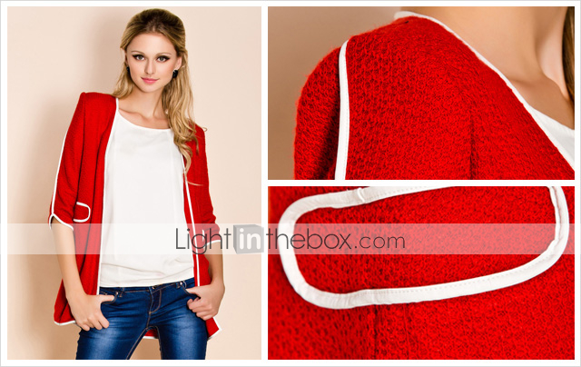 TS Contrast Color High Shoulder Cardigan