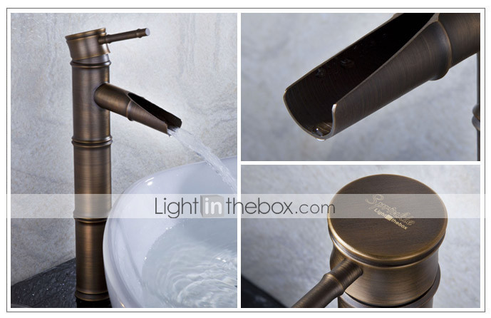 Sprinkle® - fra lightinthebox - antikk bronse foss bad vasken tappekran (bambus form design)
