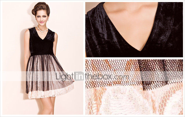TS Velvet Lace Dress With Mesh Shell