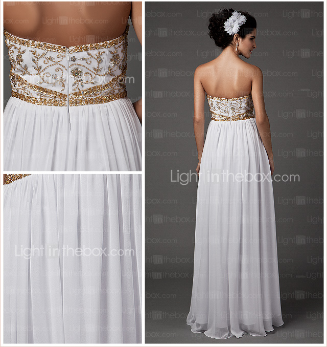 Sheath/Column Sweetheart Strapless Floor-length Chiffon Wedding Dress
