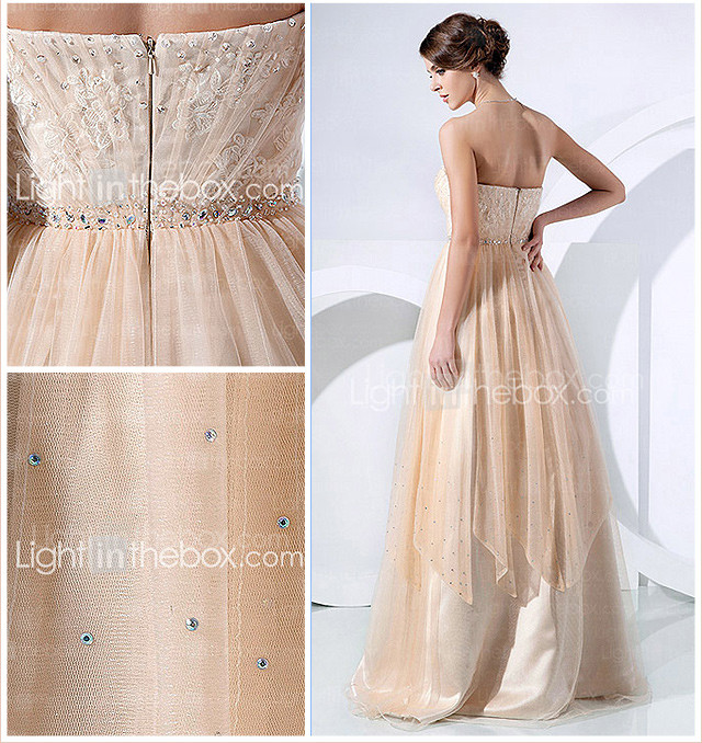 A-line Strapless Floor-length Tulle Evening Dress