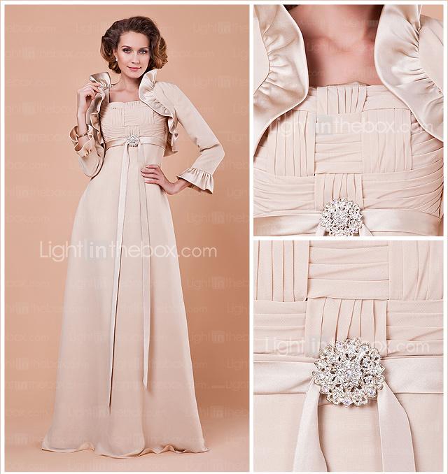 Sheath/Column Square Floor-length Satin And Chiffon Mother Of The Bride Dress With A Wrap