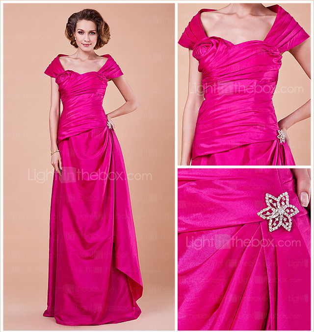 Sheath/Column Off-the-shoulder Floor-length Taffeta Mother Of The Bride Dress