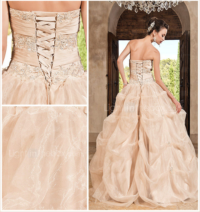 Ball Gown Sweetheart Floor-length Organza Satin Evening Dress