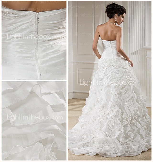 A-line Strapless Chapel Train Taffeta Wedding Dress