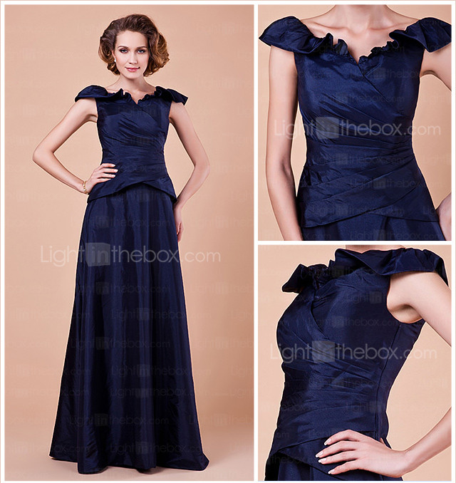 A-line V-neck Floor-length Taffeta Mother Of The Bride Dress