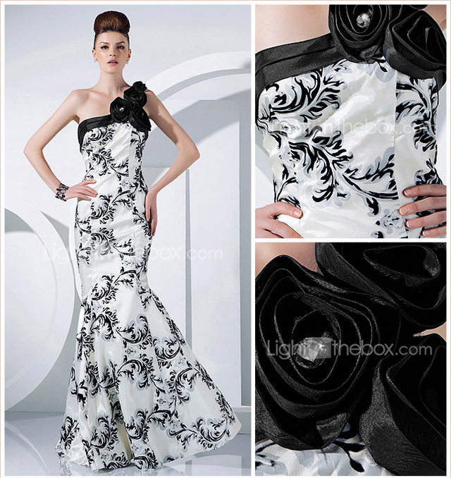 Trumpet/Mermaid One Shoulder Floor-length Taffeta Evening Dress