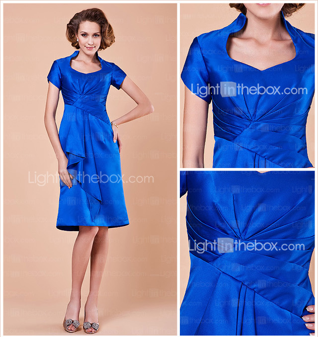 A-line Queen Anne Knee-length Satin Mother Of The Bride Dress