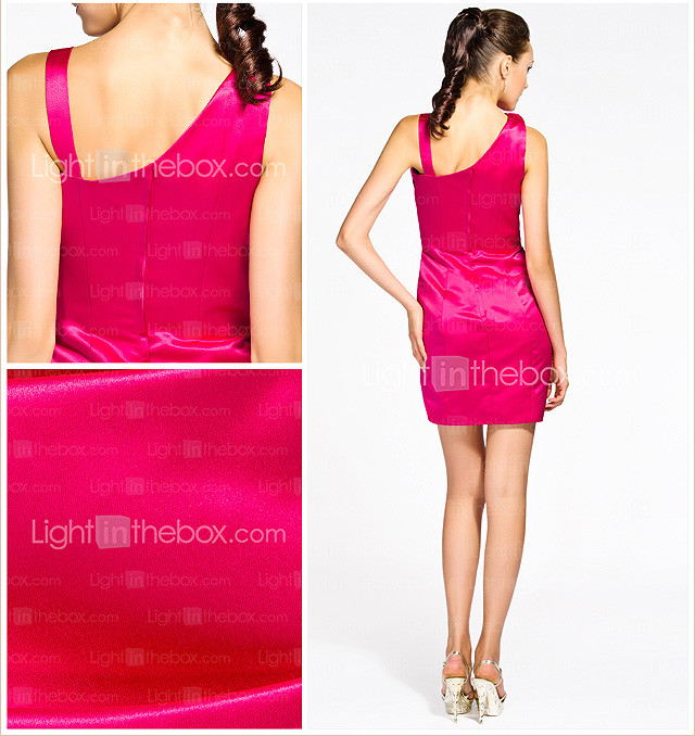 Sheath/ Column Straps Short/ Mini Satin Bridesmaid Dress