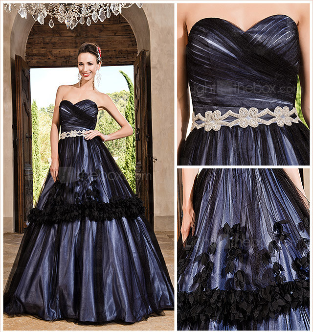 Ball Gown Sweetheart Floor-length Tulle Satin Evening Dress