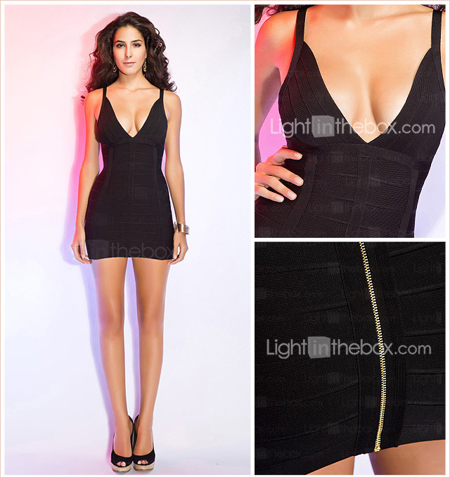 Sheath/Column V-neck Straps Sleeveless Short/Mini Bandage Dress