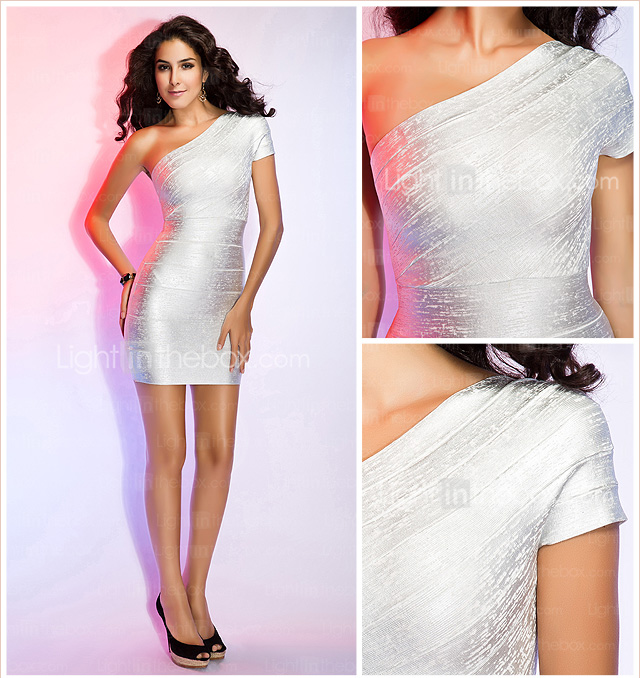 Sheath/Column One Shoulder Short Sleeve Short/Mini Bandage Dress