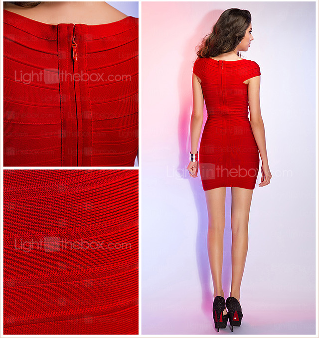 Sheath/Column Square Straps Sleeveless Short/Mini Bandage Dress