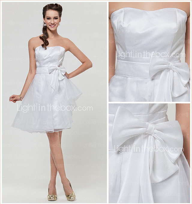 A-line Sweetheart Knee-length Satin And Organza Bridesmaid Dress