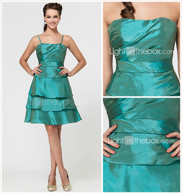 A-line Knee-length Taffeta Bridesmaid Dress With Tiers