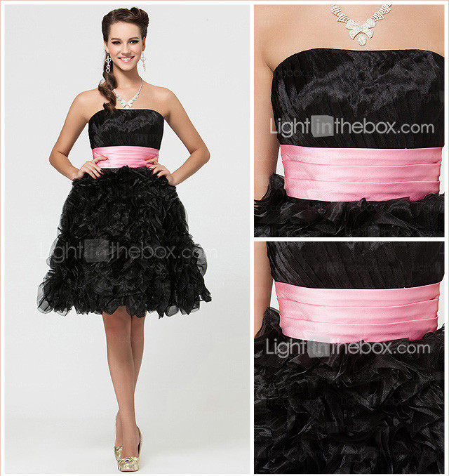 A-line Knee-length Organza Bridesmaid Dress With Ruffles
