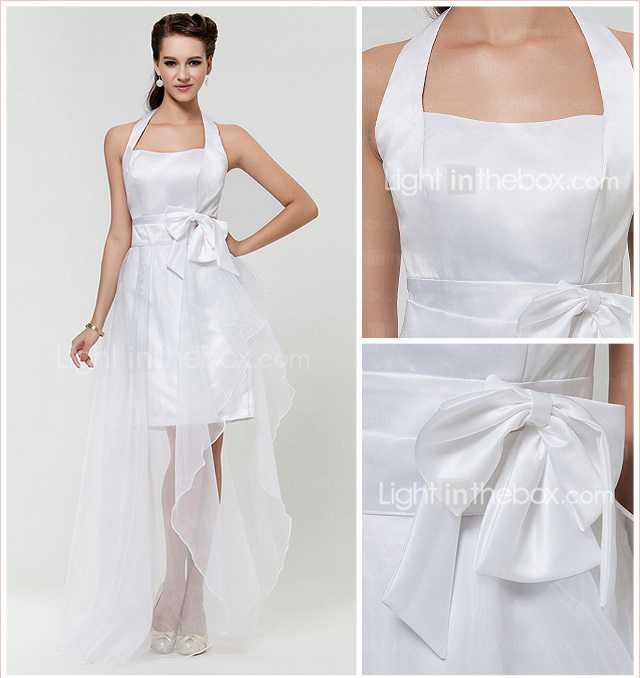 A-line Halter Asymmetrical Satin And Organza Bridesmaid Dress With Bow(s)